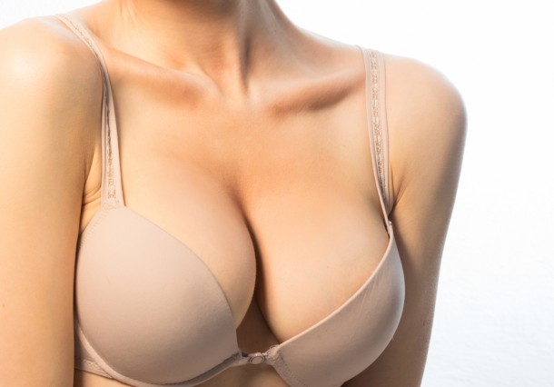 Woman wearing beige bra